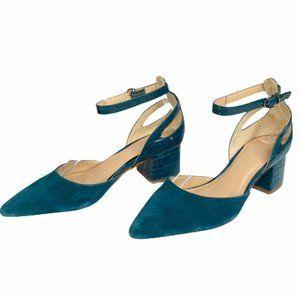 Franco Sarto Caleigh Croc Ankle Strap Pumps Heels
